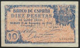°°° SPECIMEN SPAIN INUTILIZADO - 10 PESETAS BURGOS 1936 XF VERY RARE °°° - [ 2] 1931-1936 : Republic