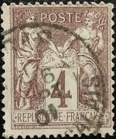 France N°88 Sage 4c. Lilas-brun. Oblitéré - 1876-1898 Sage (Type II)
