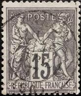 FRANCE Y&T N°77 Sage 15c Gris Oblitéré - 1876-1898 Sage (Type II)