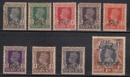British India MH 1944, KGVI Service / Official Issue's Overprint Muscat. Short Set Of 9v, - Grande-Bretagne (ex-colonies & Protectorats)
