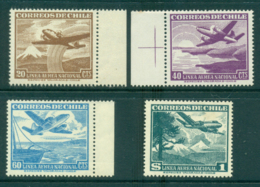 Chile 1946 Air Mail Asst (4) MLH Lot34755 - Chile