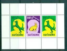 Surinam 1977 Child Welfare, Dog, Rabbit MS MUH Lot47244 - Suriname