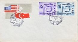 TURKEY  FDC  INDUSTRY  CO-OP  U.S.  1957  FLAGS - 1921-... Republic