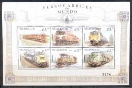 Nicaragua 1999 Trains Of The World Sheetlet MUH - Nicaragua