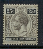 British Honduras 1913-17 25c Black On Grey Green, Olive Back KGV Head Wmk. Multiple Crown (tones) MLH - Ecuador