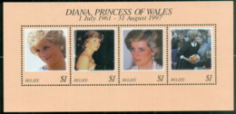 Belize 1998 Princess Diana In Memoriam, Princess Of The People MS MUH - Belize (1973-...)
