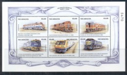 Nicaragua 1999 Trains Of The World Sheetlet 6c MUH - Nicaragua