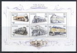 Guyana 1999 Trains Around The World, World Stamp Expo Sheetlet MUH - Guyana (1966-...)