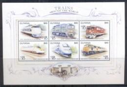 Guyana 1999 Trains Around The World, World Stamp Expo Sheetlet, Shinkansen MUH - Guyana (1966-...)