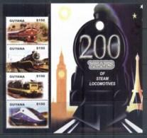 Guyana 2004 Trains 200 Years Of Steam MS MUH - Guyana (1966-...)