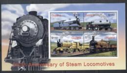 Guyana 2004 200th Anniversary Of Steam Locomotives MS MUH - Guyana (1966-...)
