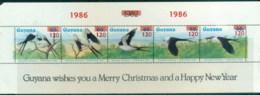 Guyana 1986 Xmas Birds, (folded, Short TLC) MS MUH - Guyana (1966-...)