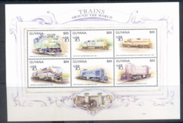 Guyana 1999 Trains Around The Worls, Australia 99 Sheetlet MUH - Guyana (1966-...)