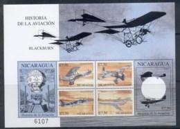 Nicaragua 2000 History Of Aviation , Blue Balloon Sheetlet - Nicaragua