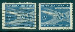 Argentina 1942 Columbus Anniv. Both Wmks FU Lot37149 - Argentina
