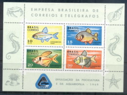 Brazil 1969 Preservation Of Fishes MS MUH - Unclassified