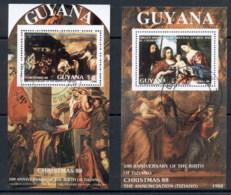 Guyana 1988 Xmas Paintings 2xMS(1) CTO - Guyana (1966-...)
