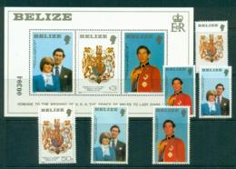 Belize 1981 Charles & Diana Wedding + MS MUH Lot30187 - Belize (1973-...)