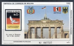 Bolivia 1991 Brandenburg Gate MS MUH - Bolivie