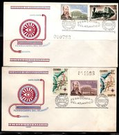COLOMBIA- KOLUMBIEN - 1962.FDC/SPD.  TRAINS - INAUGURATION OF THE RAILWAY OF THE ATLANTIC. SET X 2 COVERS. - Colombia