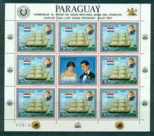 Paraguay 1981 Charles & Diana Wedding Ships Sheetlet 5g + Label MUH Lot45149 - Paraguay