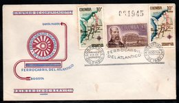 COLOMBIA- KOLUMBIEN - 1962.FDC/SPD.  TRAINS - INAUGURATION OF THE RAILWAY OF THE ATLANTIC. SINGLE COVER. - Colombia