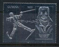 Guyana 1992 Winter Olympics Skiing Silver Foil Embossed MUH - Guyana (1966-...)