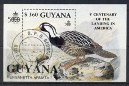 Guyana 1991 Discovery Of America, Birds MS CTO - Guyana (1966-...)