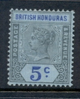 British Honduras 1899-1901 5c Grey Black & Ultramarine On Blue QV Portrait Wmk Crown CA (crease) MH - Ecuador