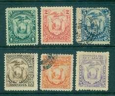 Ecuador 1896 Coat Of Arms Asst (6)Wmk. MLH/MH/FU Lot46590 - Ecuador