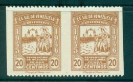Venezuela 1946 20c Allegory IMPERF Between MUH Lot35509 - Venezuela