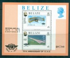Belize 1979 Powered Flight 75th Anniv., Rowland Hill $5 MS MUH - Belize (1973-...)