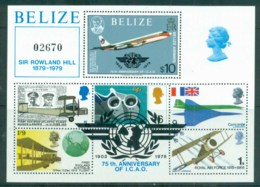 Belize 1979 Powered Flight 75th Anniv., Rowland Hill $10 MS MUH - Belize (1973-...)