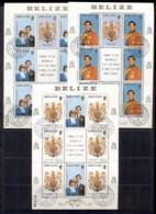 Belize 1981 Royal Wedding Charles & Diana Sheetlet 3x CTO - Belize (1973-...)