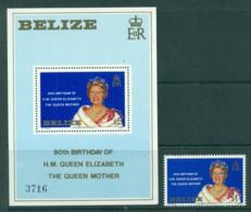 Belize 1980 Queen Mother 80th Birthday + MS MUH Lot30186 - Belize (1973-...)