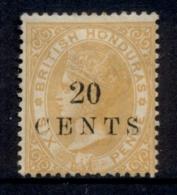 British Honduras 1888 20c On 6d Yellow QV Portrait Wmk Crown CC MNG - Ecuador