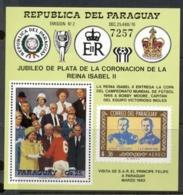 Paraguay 1978 QEII Coronation 25th Anniv. Football Presentation MS MUH - Paraguay