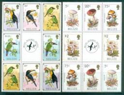 Belize 1986 Birds,Funghi, Audubon Society 2xBlk 8 + Label MLH Lot80887 - Belize (1973-...)