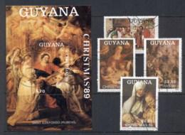 Guyana 1989 Xmas Paintings + MS CTO - Guyana (1966-...)