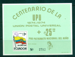 Ecuador 1974 UPU Centenary Green MS MUH Lot56356 - Ecuador