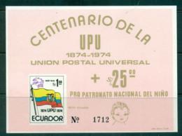 Ecuador 1974 UPU Centenary Pink MS MUH Lot56357 - Ecuador
