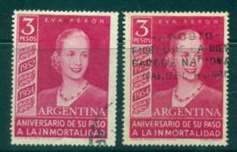 Argentina 1954 3p Eva Peron Death Anniv Both Wmh FU Lot37202 - Argentina