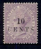 British Honduras 1888 10c On 4d Violet QV Portrait Wmk Crown CC MHH - Ecuador