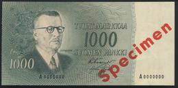 °°° SPECIMEN FINLAND 1000 MARKKAA 1955 AUNC °°° - Finlandia
