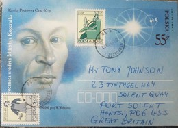 L) 1990 POLAND, NICOLAUS COPERNICUS, WALKUSKI, NIX, BLUE, 55GR, MOON, CIRCULATED COVER FROM POLAND TO GREAT BRITAIN, POS - 1944-.... Republic