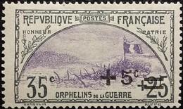 France Y&T N°166 Tranchée Et Drapeau +5c Sur  35c+25c  Ardoise Et Violet. Neuf* Gomme - France