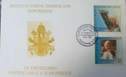 L) 1998 DOMINICAN REPUBLIC, XX ANNIVERSARY PONTIFICADO S.S JUAN PABLO II, RELIGION, FDC - Dominican Republic