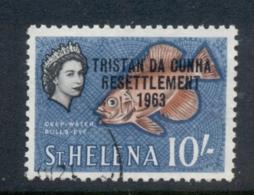 Tristan Da Cunha 1963 Resettlement Pictorials 10/- Fish FU - Tristan Da Cunha