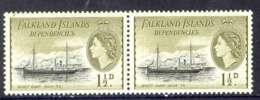 Falkland Is Deps 1954 1 1/2d Wyatt Earp Pair MUH Lot7103 - Falkland Islands