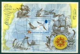 Tristan Da Cunha 1974 Map Of Island, Bird, Ship MS FU - Tristan Da Cunha